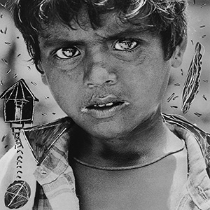 The Boy / Abul Kalam Azad / 1993 / Scratches and doodles on silver gelatin